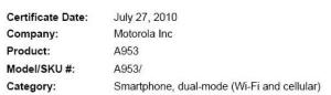 Motorola A953 Milestone 2